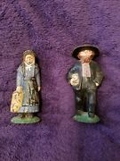 Early Vintage Painted Cast Iron Amish Quaker Pennsylvania Dutch Man And Woman