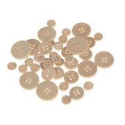Assorted Wooden Craft Buttons Natural 40-count