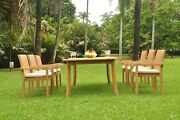 Dsnp A-grade Teak Wood 7pc Dining 117 Rectangle Table 6 Stacking Arm Chair Set