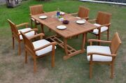 Dsnp 7pc A-grade Teak Dining 94 Mas Rectangle Table Stacking Arm Chair Patio Set