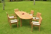 Dsnp A-grade Teak Wood 7pc Dining 94 Oval Table 6 Stacking Arm Chair Set