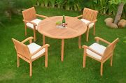 Dsnp A-grade Teak Wood 5pc Dining 48 Round Table Stacking Arm Chair Outdoor Set
