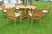 Dsnp A-grade Teak Wood 7pc Dining 60 Round Table 6 Stacking Arm Chair Set