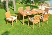 Dsnp A-grade Teak Wood 7pc Dining 71 Rectangle Table 6 Stacking Arm Chair Set