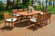 Dsnp A-grade Teak Wood 9pc Dining 94 Oval Table 8 Stacking Arm Chair Set