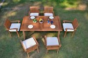 Dsnp A-grade Teak 7pc Dining 94 Rectangle Table 6 Stacking Arm Chair Set