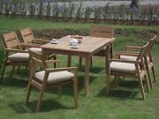 Dsvl A-grade Teak Wood 7pc Dining 71 Rectangle Table 6 Stacking Arm Chair Set
