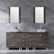 72and039and039 Bathroom Ply Vanity Cabinet Top Ceramic Vessel Sink W/faucet Drain Mirror