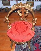 19 C Hand-carved Gilt Arm Chair And 3 Beauty Flower Design New Upholstery H=35