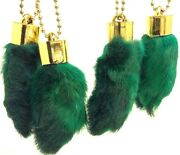4 X Real Amulette Rabbit Foot Lucky Keychain 4 X Vraie Patte De Lapin Chanceuse