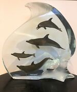 Light In The Sea Skulptur By Wyland Lucite And Pewter Delfine / Signed
