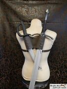 Double Leather Back Scabbard For Latex Sword, Luxury Version. Larp, Sca, Cosplay