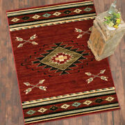 Southwestern Lodge Cabin Rustic Tribal Arrow Red Area Rug Free Shipping