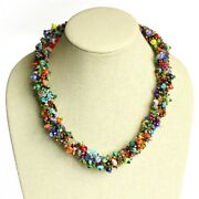 Fine Beaded Czech Glass Stone Bead Magnet Clasp Necklace Lot Wholesale 3 Pack