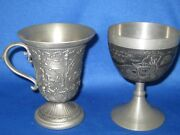 Lot Two 4 Antique German Solid Pewter Embossed And Engraved Cups Deer/horse Wagon