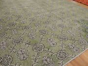 Modern 6x9 Rug Vintage Look Area Rug Green Gray Wool Hand-knotted Shabby Chic