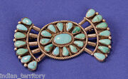 Vintage Navajo Bow-tie Shaped Sterling Silver And Turquoise Pin C.1940 3