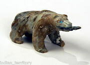Zuni Picasso Marble Bear With Fish By Herbert Him 4 1/2 X 2