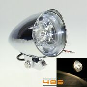 4-1/2and039and039 Tri-bar Bullet Headlight Lamp Aluminum Fits Harley Sportster Xl Chrome