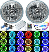 7 Multi-color White Red Blue Green Rgb Smd Led Halo Angel Eye Headlights Pair