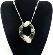Arts And Crafts Large Mop Chrysoprase And Silver Necklace Pendant And Chain