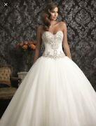 Allure Wedding Princess Dress Style Number 9017 Size 6 Veil And Crown