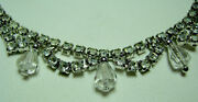 Vintage Rhinestone Necklace With Small Crystal Prisms 15 Long Sparkly