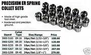 Hardened And Precision Ground Collets New Er-20 Set 12 Pc
