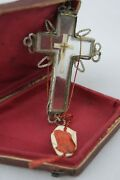 † Dnjc True Cross Relic Double Crystal Cross Sterling Reliquary Wax Seal Italy †