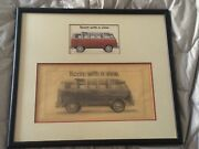 Original Vw 21 Window Bus Avertising Concept Drawing For Postcard And Billboard