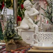 Capodimonte Porcelain Angel Butterfly In Porcelain White Biscuit