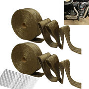 2 Rolls Titanium Exhaust Wrap Kit Lava Fiber 2 X 50 Ft With Stainless Ties