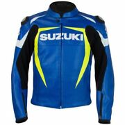 New Manand039s Suzuki Blue Heavy Duty Motorbike Real Leather Motorcycle Racing Armour