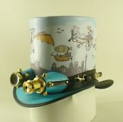 Printed Leather Steampunk Top Hat With Vintage Style Aviator Goggles Hand Made