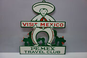 Mexico Pemex Travel Club Die Cut Sign. Large Sign 16 High 14 Wide Nice Piece
