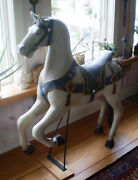 Vintage Painted Wooden Carousel Horse From Fl-carnival-caro Circa 1900 Prancer