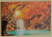 Led Lighted Waterfall Canvas Wall Art Large Size 23-5/8 X 15-7/8