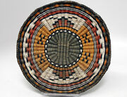 Hopi Wicker Pictorial Basket Butterfly Motif Excellent Condition 13 1/2 C.1930