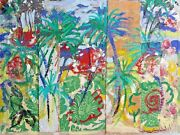 Jacques Lamy Mixed Media Abstract Original Signed Painting Modern Art Tropical