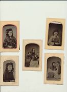 Five Tintypes Of Sisters W/ Wild Hair - Group  Individual Portraits - Barry, Il