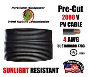 4 Awg Gauge Pv Wire 1000/2000 Volt Pre-cut 15-500 Ft For Solar Installation