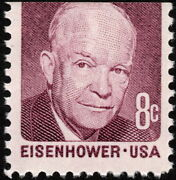Us - 1970 - 8 Cents Deep Claret Dwight D. Eisenhower Miscut Small Stamp 1395 Nh