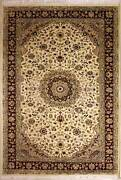 Rugstc 6x9 Senneh Pak Persian White Area Rug Hand-knottedfloral With Wool Pile