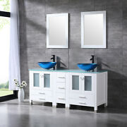 60and039and039 White Bathroom Vanity Cabinet Double Glass Sink W/faucet Mirror Counter Top