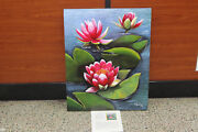 Rita Ford Arcylic On Canvas Pink Water Lilies Painting 24 X 30 2005