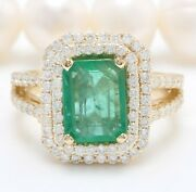 5.45 Carat Natural Emerald And Diamonds In 14k Solid Yellow Gold Womenandrsquos Ring