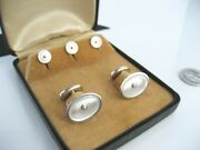 Antique Art Deco Larter And Sons Era 14k Gold Mop Pearl Cufflinks And Stud Buttons