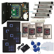 4 Doors Control Systems Kit And Infrared Exit 600lbs Magnetic Lock Keypad Reader