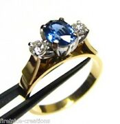 Vintage Natural Sapphire And Diamond Engagement Ring