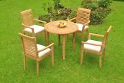 Dsms A-grade Teak 5pc Dining Set 36 Round Table 4 Stacking Arm Chair Outdoor